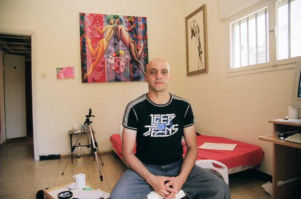 raphael perez painter self portrait on my studio