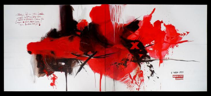 Crveni letac, akril, 50 x 120cm